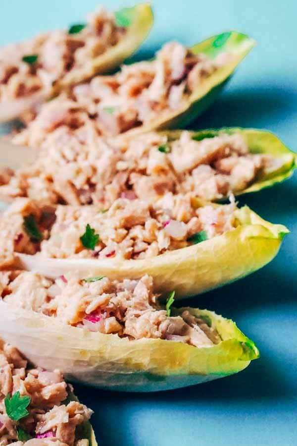 Tuna Stuffed Endives with Avocado Oil Vinaigrette [Keto Recipe]