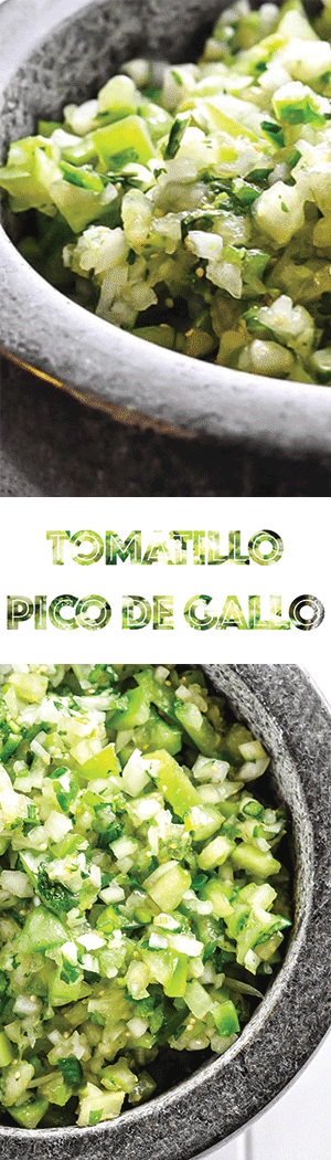 Pico de gallo recipe with tomatillos! Low carb, keto friendly, sugar-free salsa!