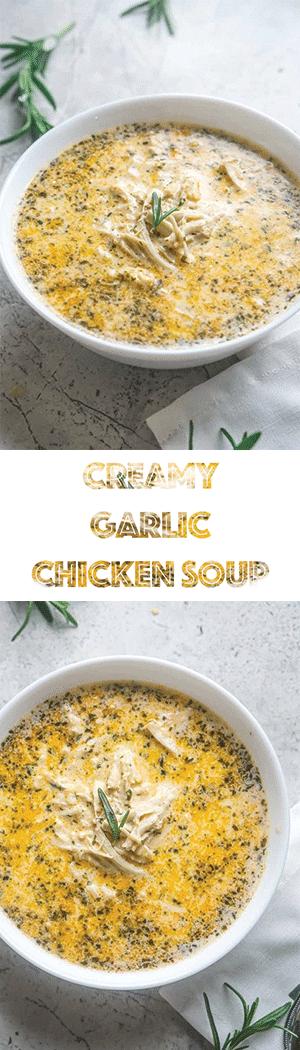 Creamy Garlic Chicken Soup - Low Carb Keto Soup Recipe