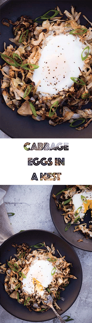 Low Carb Eggs in the Nest with Braised Cabbage - Keto, Dairy Free, Vegetarian