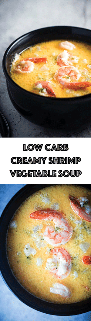 Creamy Shrimp Soup with Vegetables Recipe - Low Carb Seafood Chowder with Cauliflower, Broccoli, Turnip,