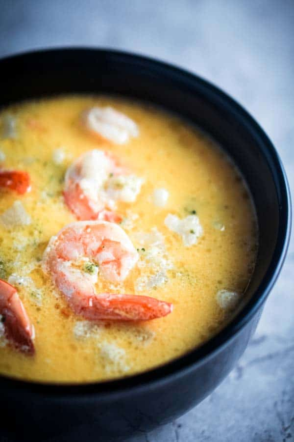 Creamy Vegetable Soup and Shrimp - Low Carb, Keto, Gluten-Free