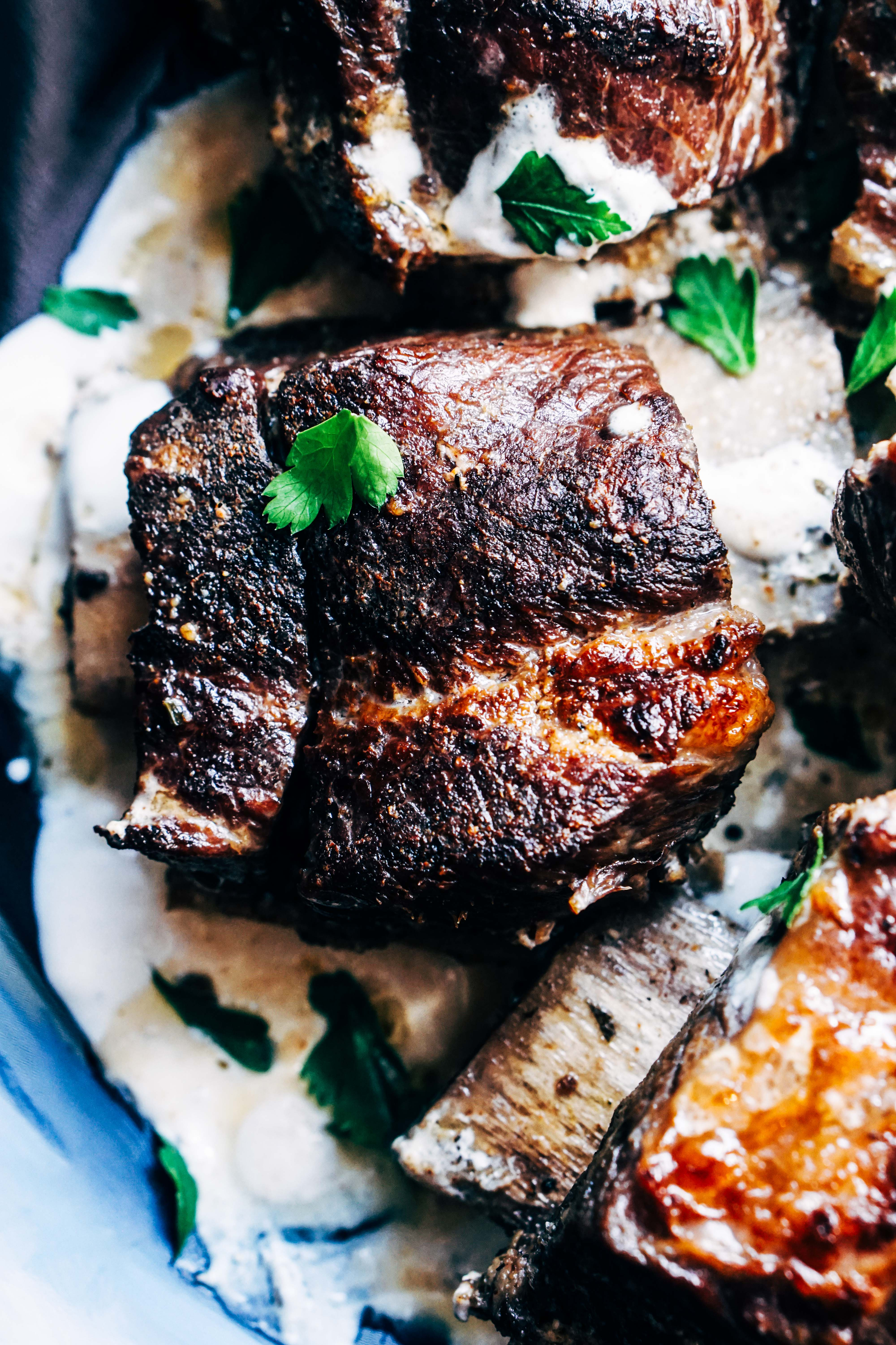 Crockpot Beef Short Ribs Recipe with Creamy Mushroom Sauce - Low Carb, Keto, Gluten Free