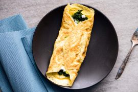 Goat Cheese Omelet Recipe with Spinach, Thyme, & Garlic - Keto, Low Carb, Vegetarian