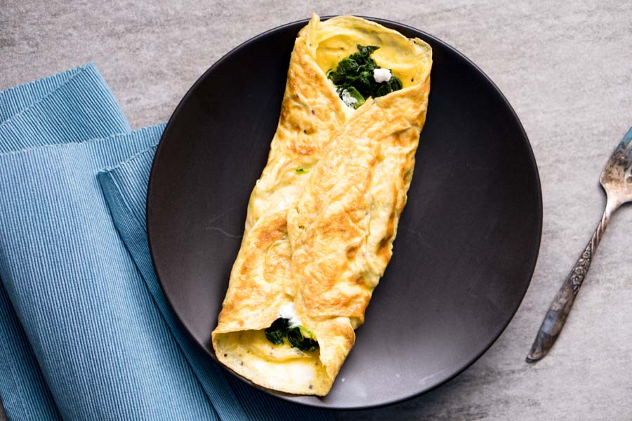 Goat Cheese Omelet Recipe With Spinach Ketogasm
