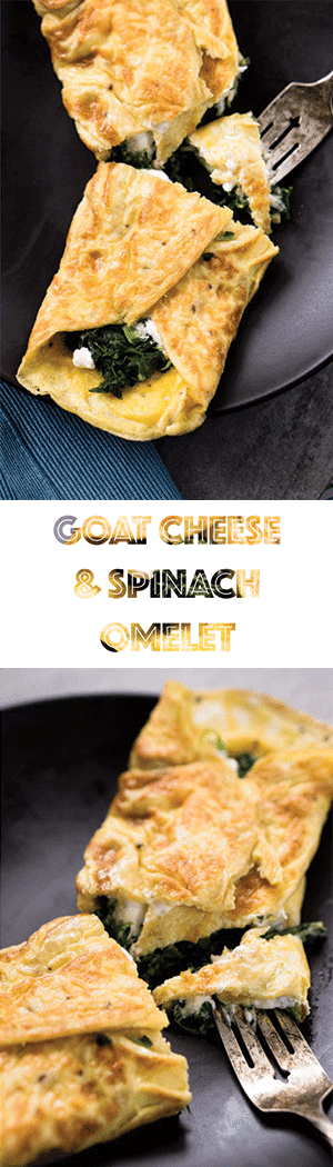Spinach & Goat Cheese Omelet Recipe - Keto, Low Carb, Vegetarian