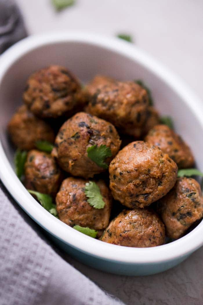 Low Carb Keto Chicken Meatballs with Spicy Peppers: Habenero & Green Chili