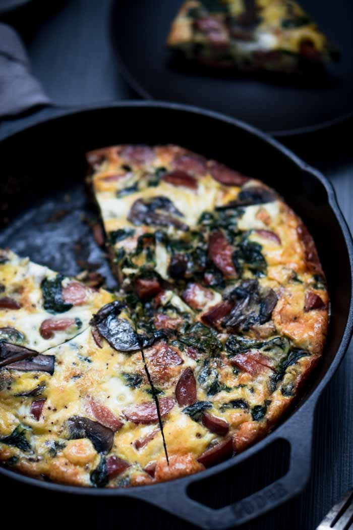 Spinach Mushroom Sausage Frittata Recipe - Low Carb, Keto Breakfast