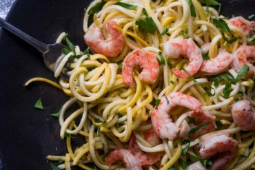 Low Carb Keto Shrimp Scampi Recipe - Summer Squash Noodles